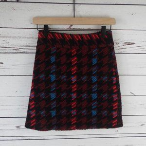 Topshop Houndstooth High Rise A-Line Wool Skirt, 2